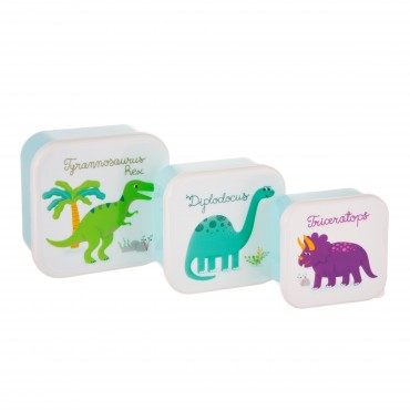 Set de 3 lunch box carrée - Dinosaures
