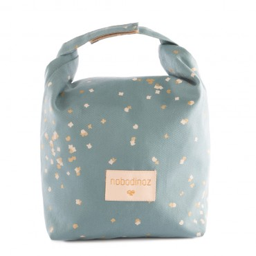 Lunch bag Too cool - Gold confetti / Magic green