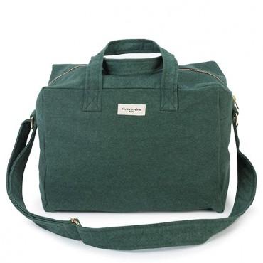 City bag SAUVAL en coton recyclé - Green Malachite