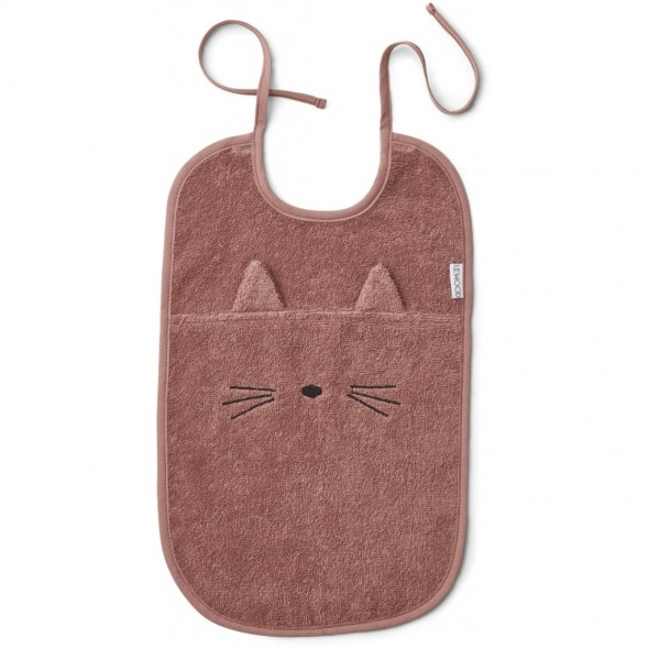Bavoir Theo - Cat dark rose