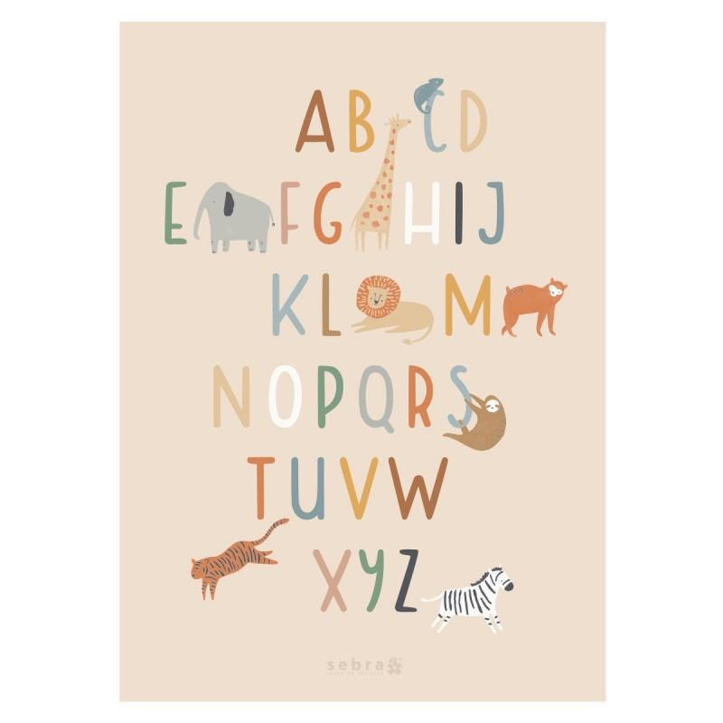 Poster Alphabet Wildlife 50x70 Cm Sebra Perlin Paon Paon