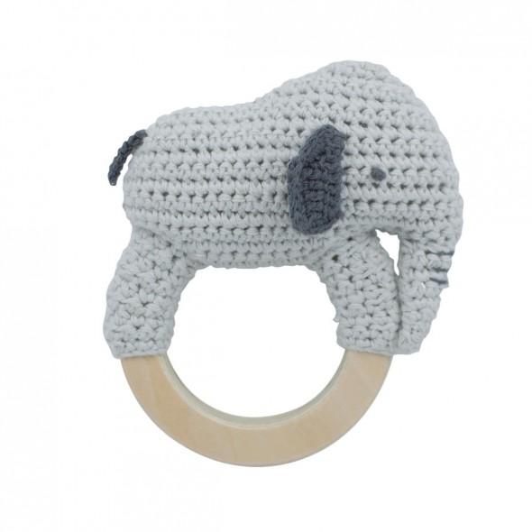 Anneau hochet en crochet - Finley l'éléphant