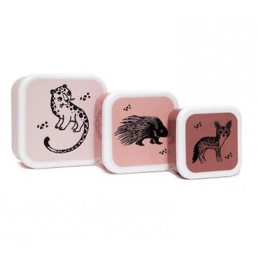 Set de 3 lunch box - Black animals