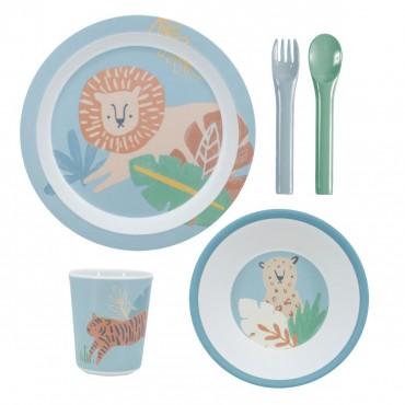 Set de vaisselle 5 pièces - Wildlife (eucalyptus blue)