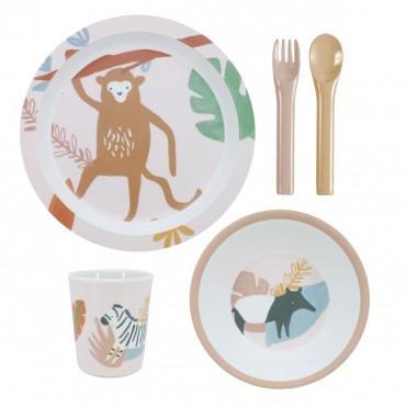 Set de vaisselle 5 pièces - Wildlife (sunset pink)