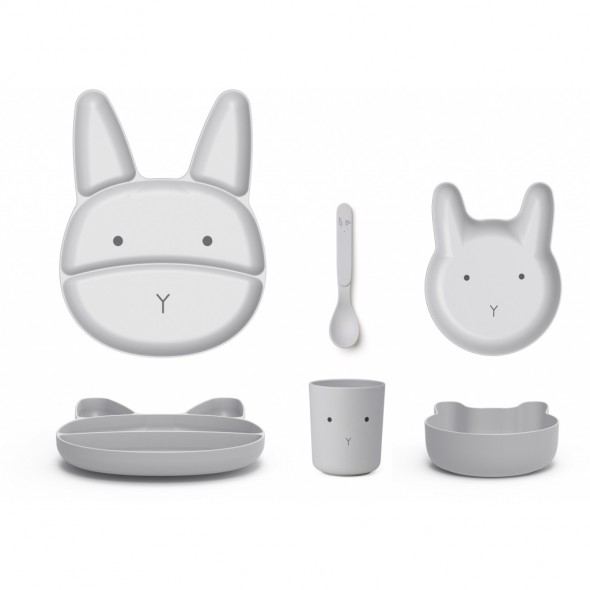 Set de vaisselle Jules en bambou - Rabbit (dumbo grey)