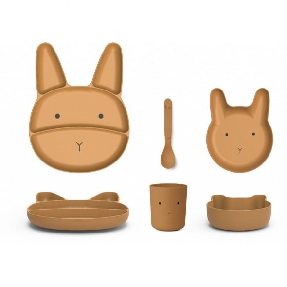Set de vaisselle Jules en bambou - Rabbit (moutarde)