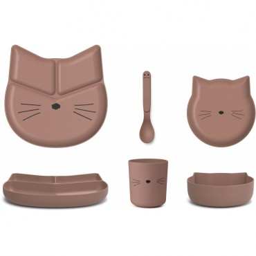 Set de vaisselle Jules en bambou - Cat (dark rose)