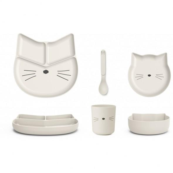 Set de vaisselle Jules en bambou - Cat (creme)
