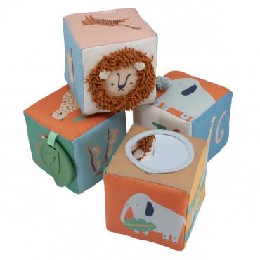 Jeu de 4 cubes en coton - Wildlife