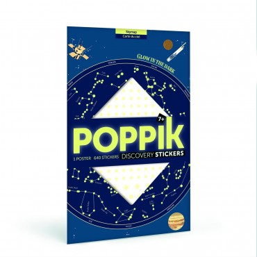 Poster carte du ciel + 640 stickers étoiles phosphorescentes