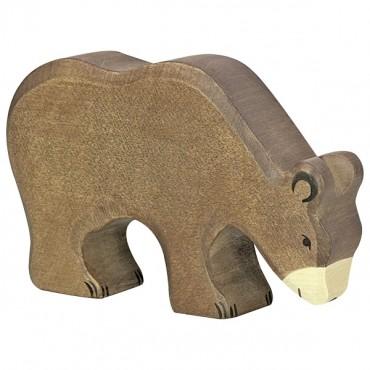 Animal en bois - Ours brun, mangant