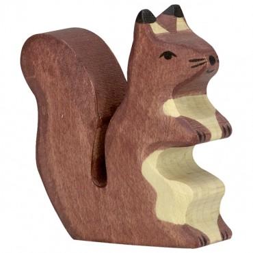Animal en bois - Ecureuil, marron