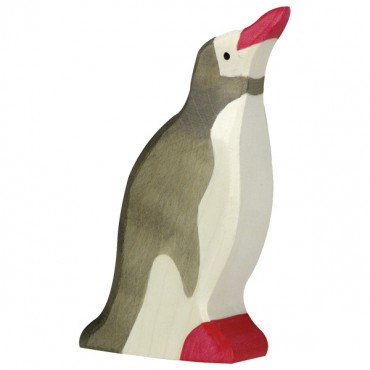 Animal en bois - Pingouin, tête haute
