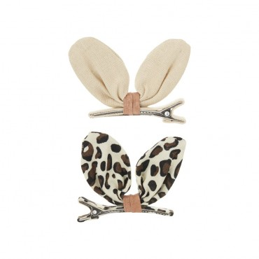 2 barrettes pinces - Lapin kiko safari