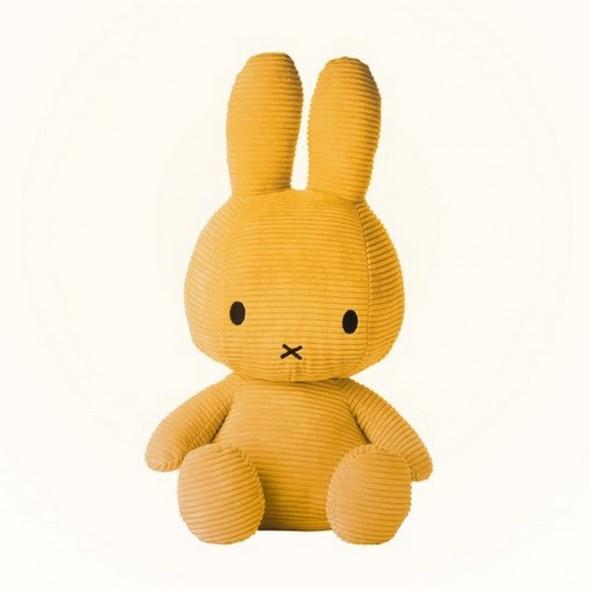 Grande peluche Miffy - Velours côtelé moutarde (50 cm)