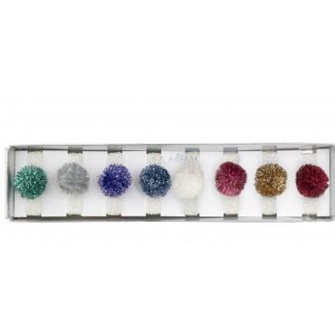 Set de 8 élastiques irisés à pompons