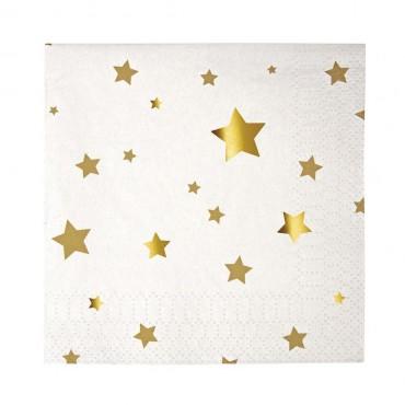 16 petites serviettes en papier - Etoiles dorées