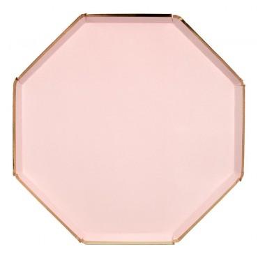 8 assiettes en carton - Rose pastel