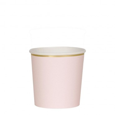 8 petits gobelets en carton - Rose pastel