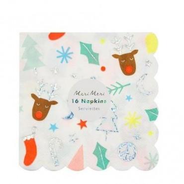 16 petites serviettes en papier  -  Funky Noël