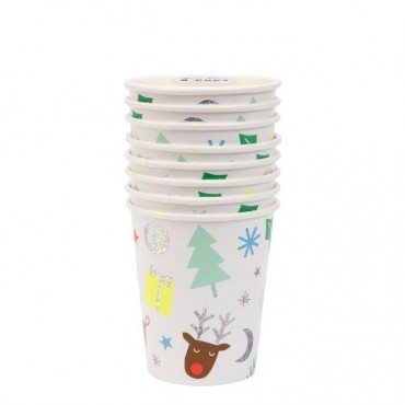 8 gobelets en carton -  Funky Noël