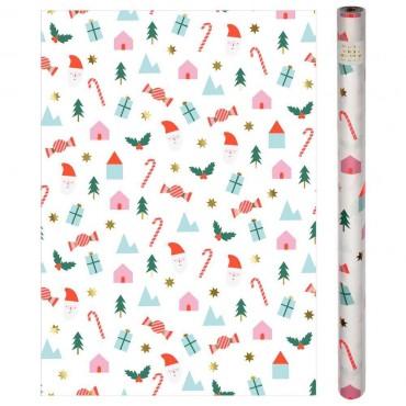 Rouleau de papier cadeau - Icônes de Noël