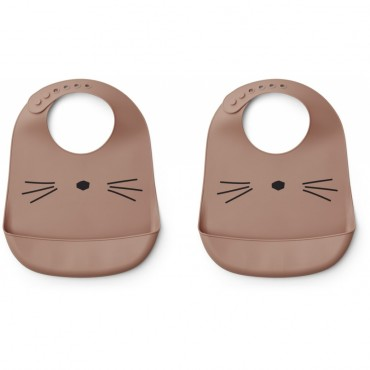 Bavoir en silicone Tilda - Cat (dark rose)