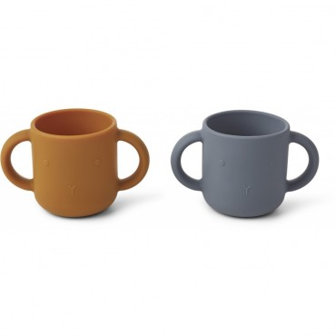 Set de 2 tasses en silicone Gene - Rabbit (blue wave)