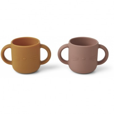 Set de 2 tasses en silicone Gene - Cat (dark rose)