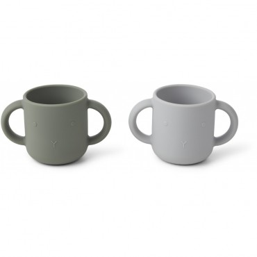 Set de 2 tasses en silicone Gene - Rabbit (faune green)