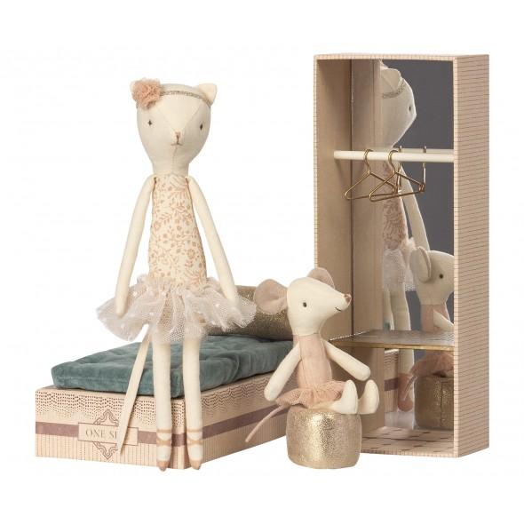 Chat danseuse & souris ballerine dans une boite à chaussure