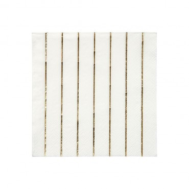 16 petites serviettes en papier  -  Gold stripes