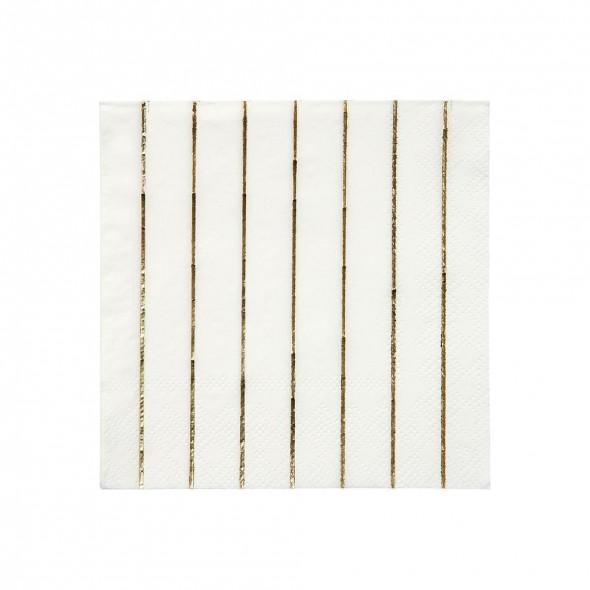 16 petites serviettes en papier  -  Gold stripes
