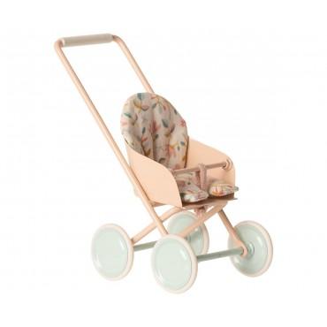 Poussette pour bébé souris (Micro) - Rose poudre