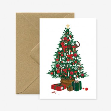 Carte double - Xmas tree gold foil
