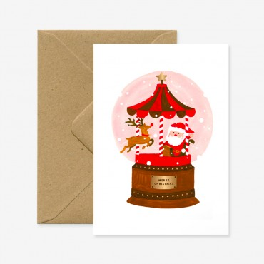 Carte double - Xmas santa snowball