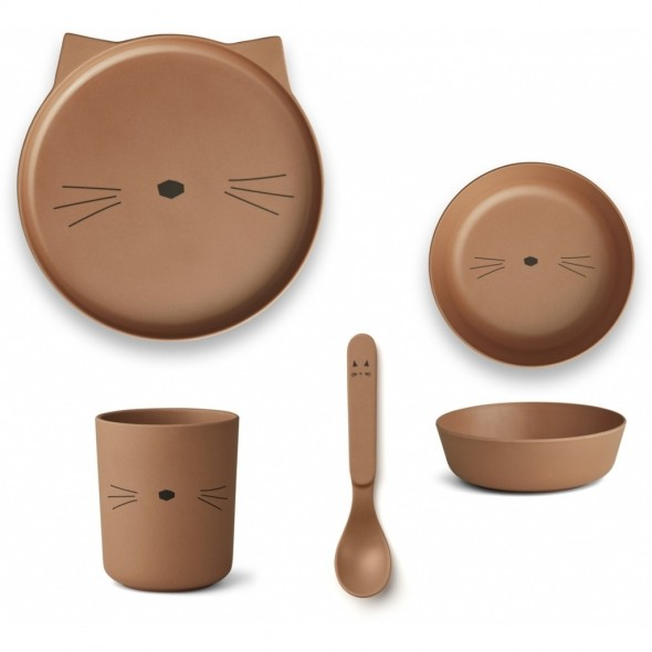 Set de vaisselle en bambou - Cat (terracotta)