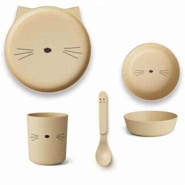 Set de vaisselle en bambou - Cat (smoothie yellow)
