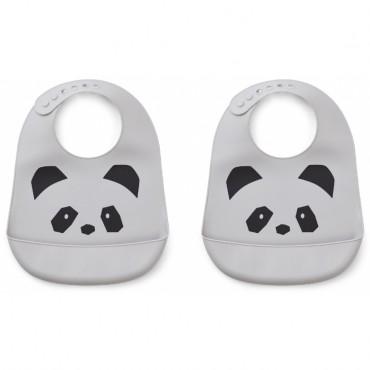 Bavoir en silicone Tilda - Panda (dumbo grey)