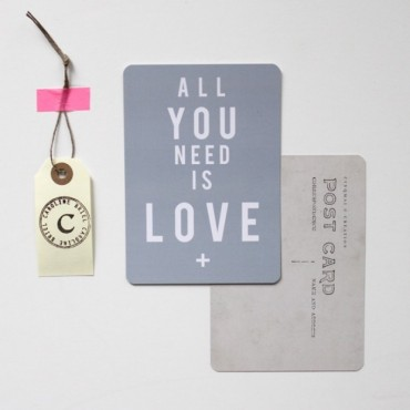 Carte All You Need Is Love - Bleu Gris