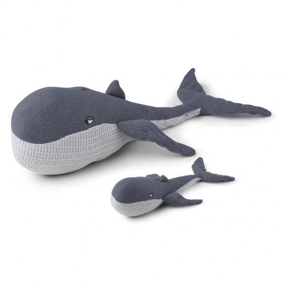 Peluche tricotée Doby - Baleine et son bébé  (blue wave)