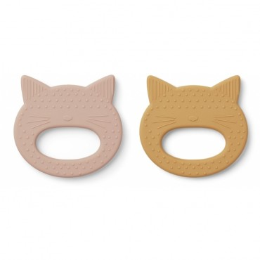 Set de 2 anneaux de dentition Geo - Cat (rose/ yellow mellow)
