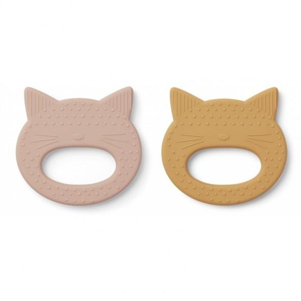 Set de 2 anneaux de dentition Geo - Cat (rose/ yellow mellow)