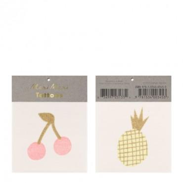 2 planches de tatouages éphémères - Cerises et ananas pailletés