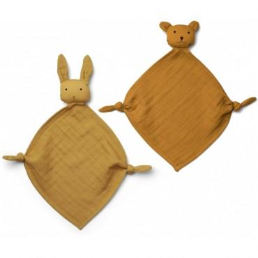 Set de 2 mini doudous langes Yoko - Yellow