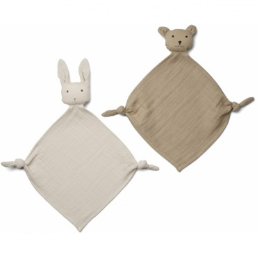Set de 2 mini doudous langes Yoko - Sandy / Stone beige
