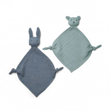 Set de 2 mini doudous langes Yoko - Blue
