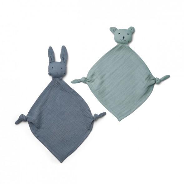 Set de 2 mini doudous langes Yoko - Blue