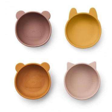 Pack de 4 bols Iggy en silicone - Rose